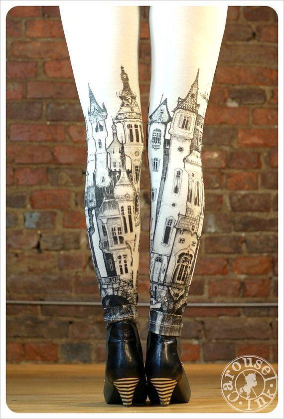 Victorian City Leggings - Off white Leggings - Womens leggings - SMALL Legging -LEGWEAR. $32.00, via Etsy.