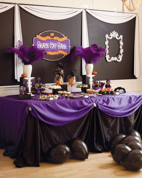 Black Cat Ball Kid S Halloween Party Purple Halloween