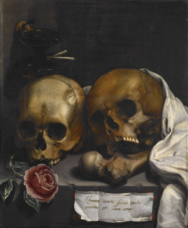 "Vanitas Still Life Artist Falk J, Dutch, 1629. Oil on wood.     Inscription I.r.: ""Humana cuncta fumus, umbra, vanitas, et scenae imago."" (All that is human is smoke, shadow, vanity and the picture of a stage.)"