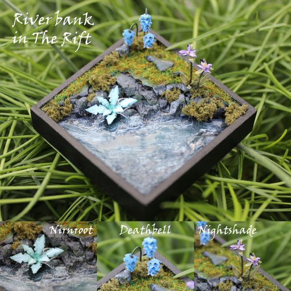 I want the riverbank w. nightshade and deathbells! omfg! Skyrim Miniature Terrains & Plants by alarmeighteen on Etsy, £50.00