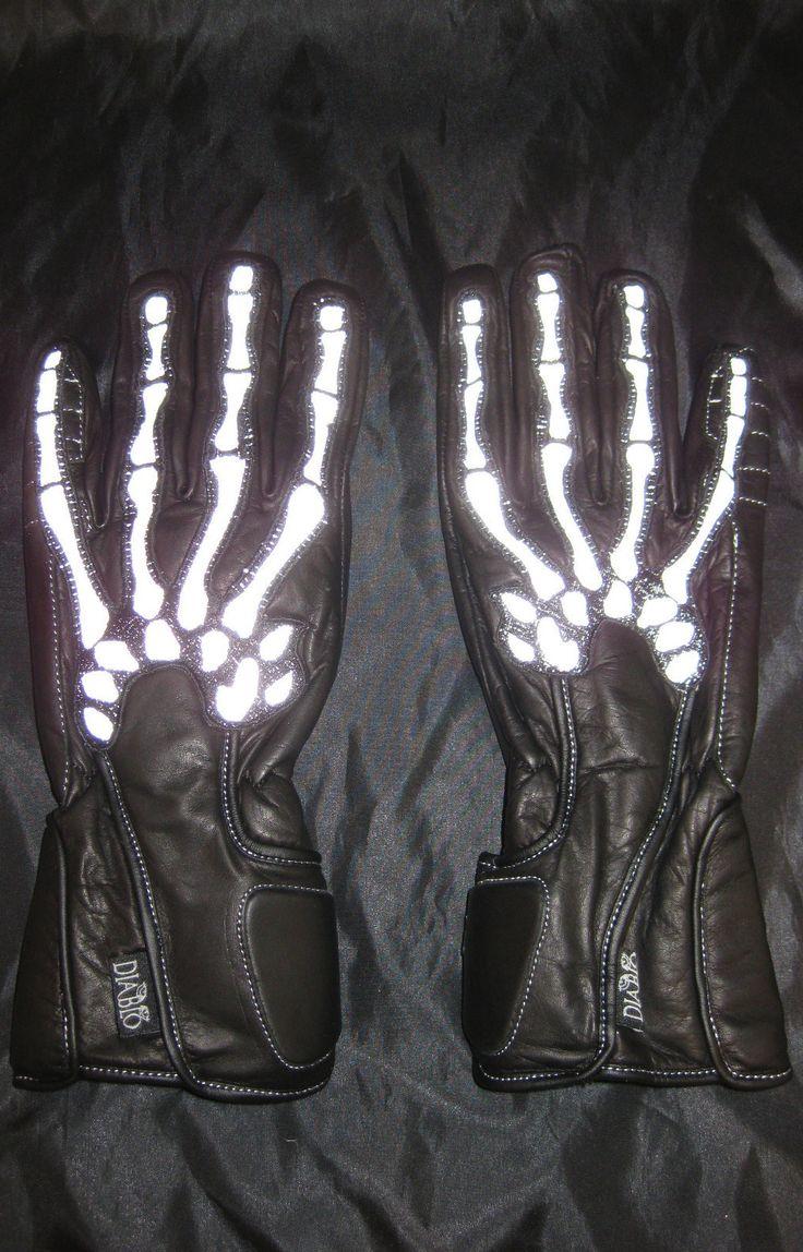 Gaspar leather driving gloves - 3m Reflective Bones Skeleton Motorcycle Gloves Ebay Shop Motorcyclecustomizing