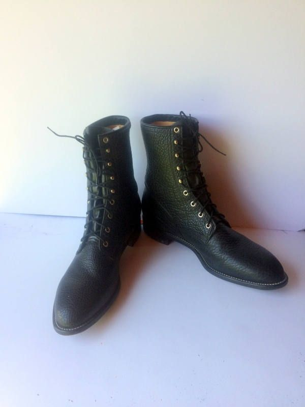ed604d3304175 sz 14 EE vintage JUSTIN boots, black pebble leather justin lace up ...