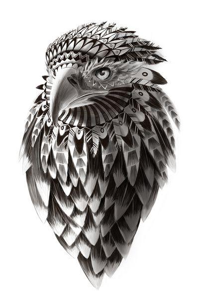black and white ornate rendered tribal eagle Art Print