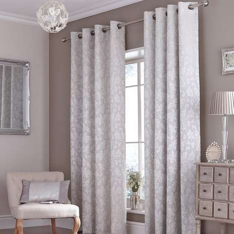 Silver Canterbury Eyelet Curtains | Dunelm... For French doors?