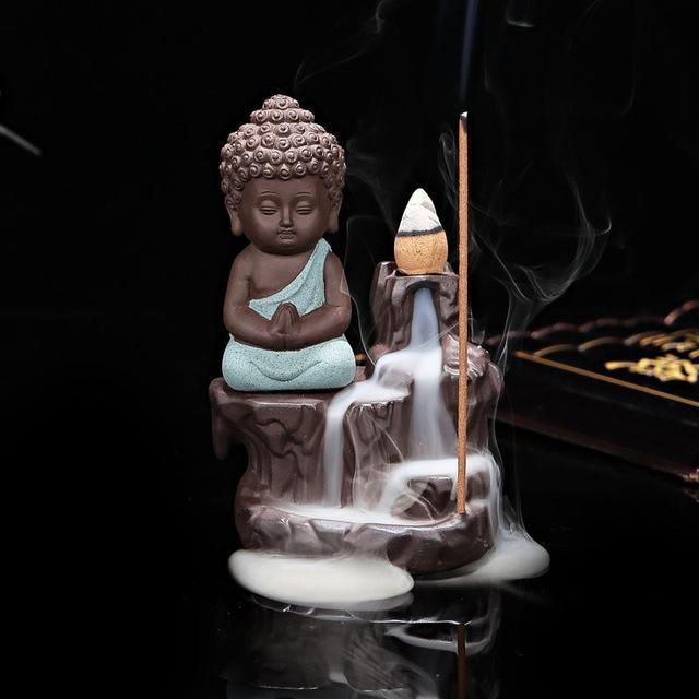 """Incense burner """"Little Monk on the Waterfall"""""""
