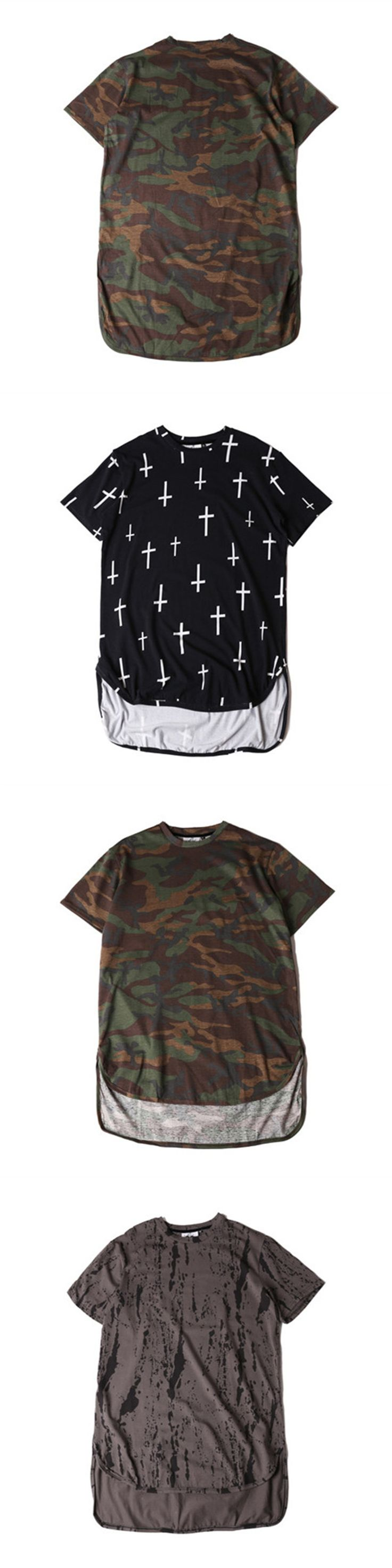 2017 Man Si Tun HipHop Bieber Clothes Street Wear Urban Clothing Men Women Long Sleeve Longline T shirt Swag Clothes Camouflage