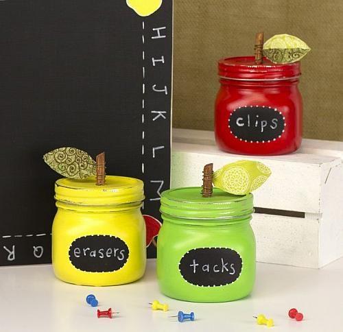 Teacher's Apple Jar Trio Storage Set #craft #backtoschool