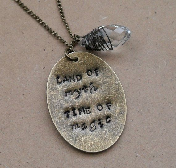 """Merlin """"Land of Myth, Time of Magic"""" Hand Stamped Necklace with Clear Crystal on Long Chain"""