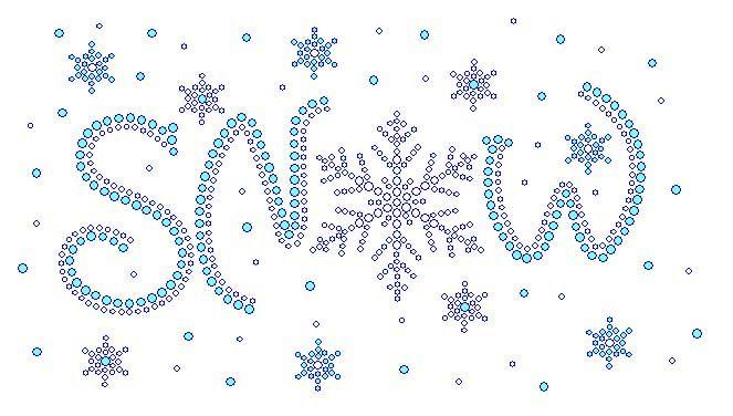 Snow with Snow Flakes rhinestone transfers