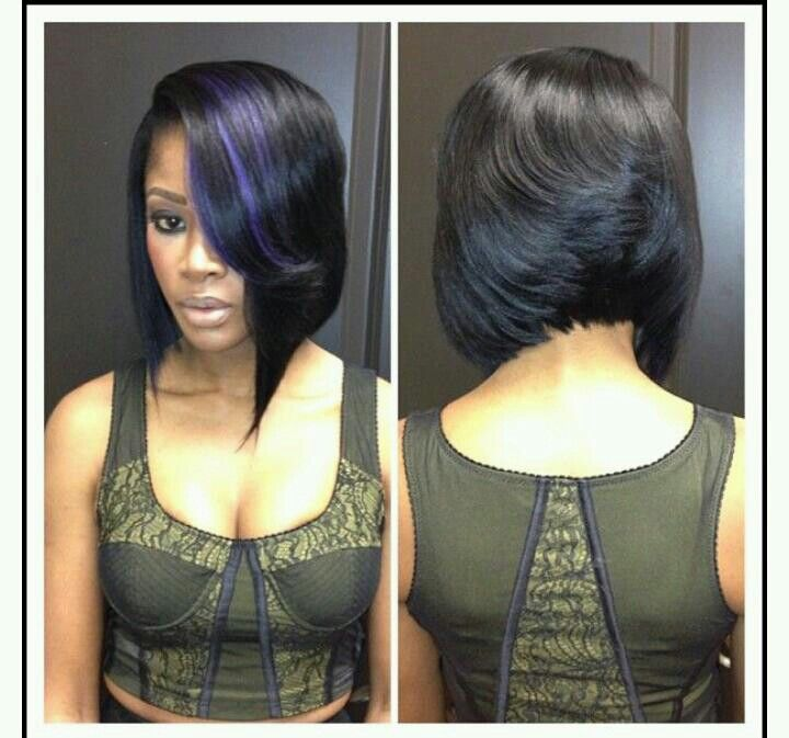 Precison Mid Bob Feathered Back Asymmetric Front Purple