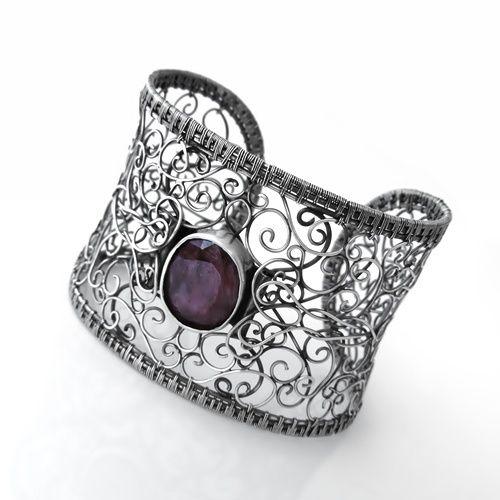 Piękna,ażurowa z  naturalnym rubinem w Wioleta Hajcz-biżuteria artystyczna na DaWanda.com