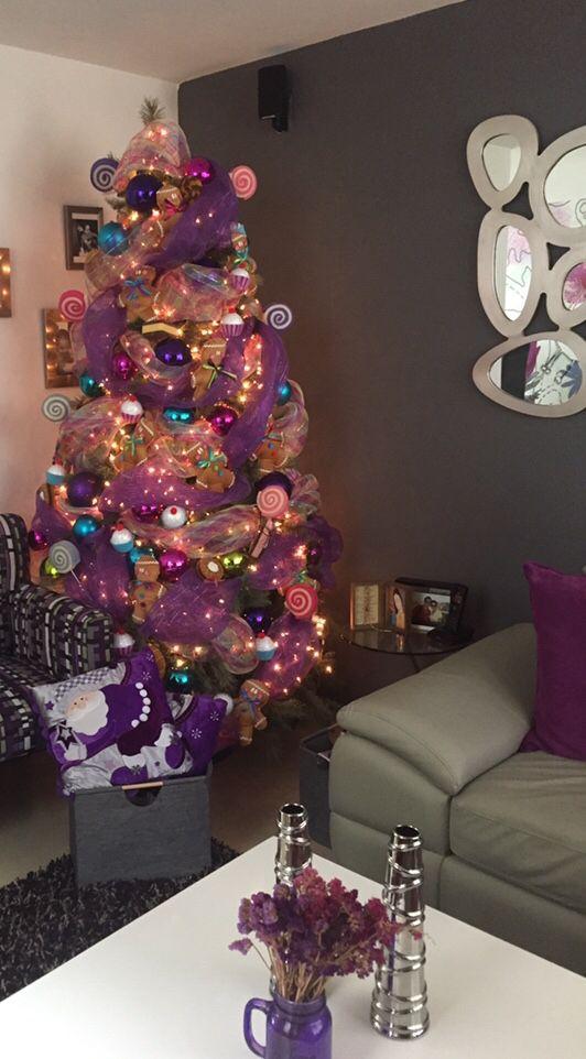 Colorful christmas tree arbol de navidad para ni os morado - Arboles de navidad rosa ...