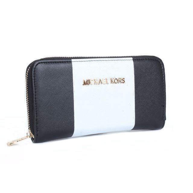 Perfect Michael Kors Jet Set Center Stripe Large Black Wallets, Perfect You