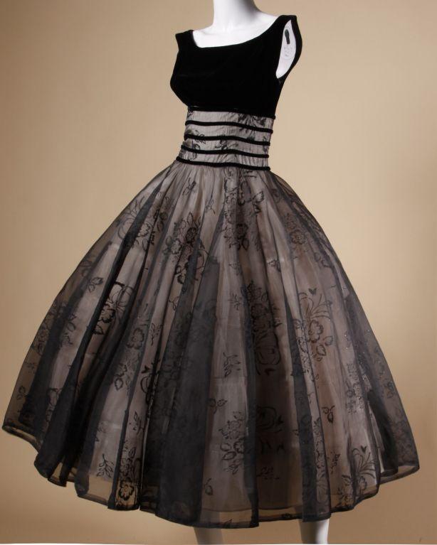 Vintage 1950's Black Organza Burn Out Velvet Party Dress