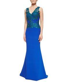 Neiman Marcus - Badgley Mischka Sleeveless Open-Back Lace-Bodice Gown