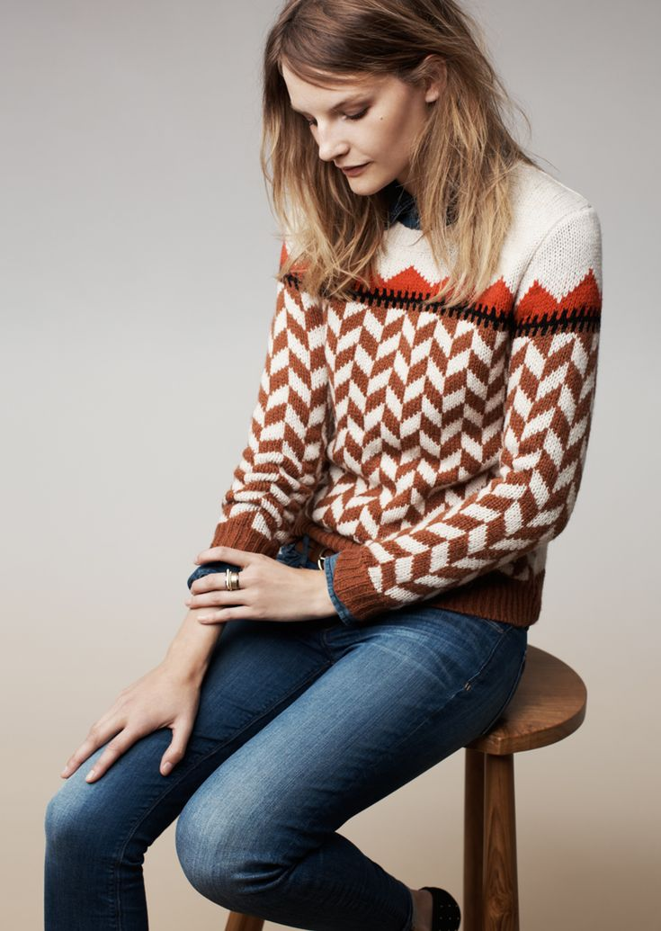 Madewell Chevron ski sweater, skinny skinny jeans and the Teddy loafer.