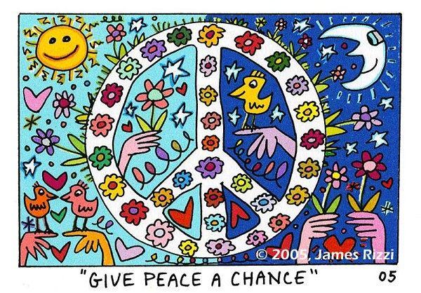 Give Peace a Chance von James Rizzi präsentiert von der Galerie am Dom in Frankfurt und Wetzlar