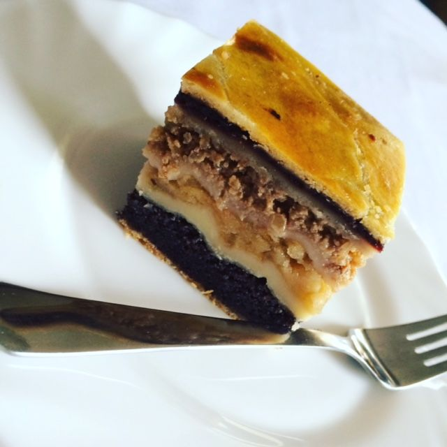 Flodni - Jewish layer cake. Is this cake there are 4 types of filling: poppy seeds, apple, walnuts and plum jam.