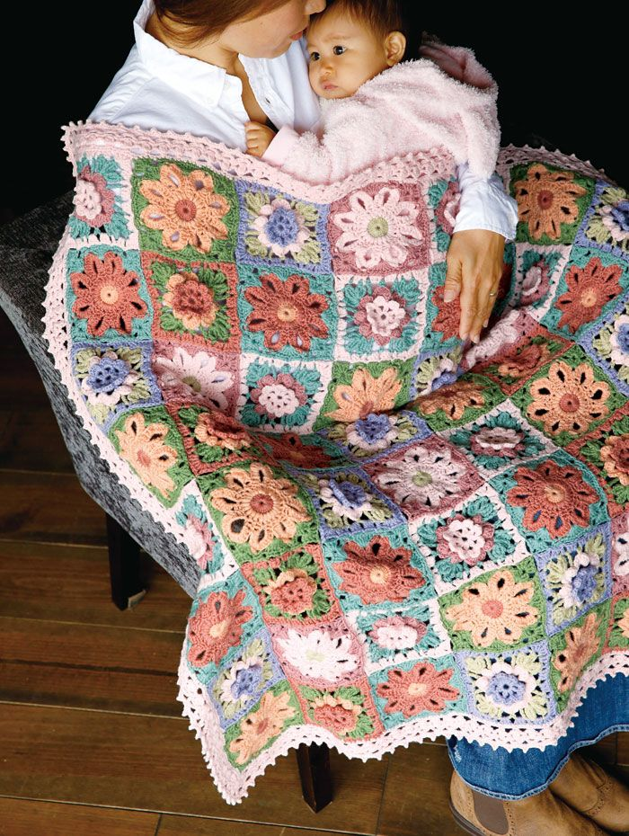 Free Japanese Crochet Patterns In English : Crochet squares / blanket - free Japanese diagram pattern ...
