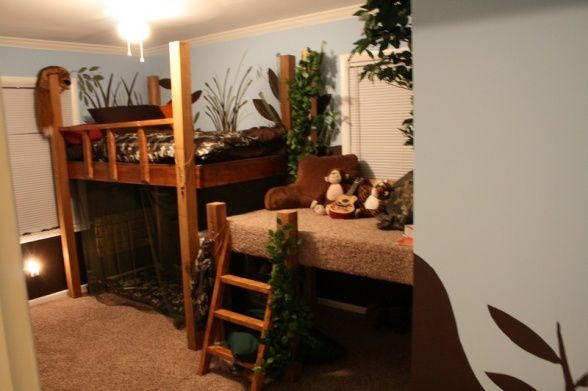 Camo Hunting Themed Room Loft Bed Forest Theme Maybe