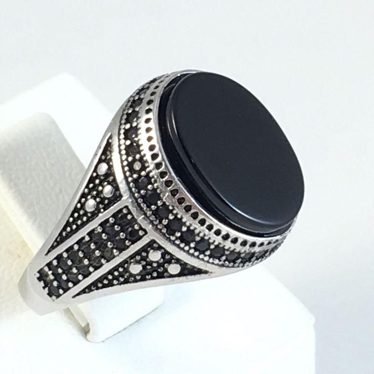 New Turkish Handmade 925K Sterling Silver Black Onyx Men's Ring Size 10 5 | eBay