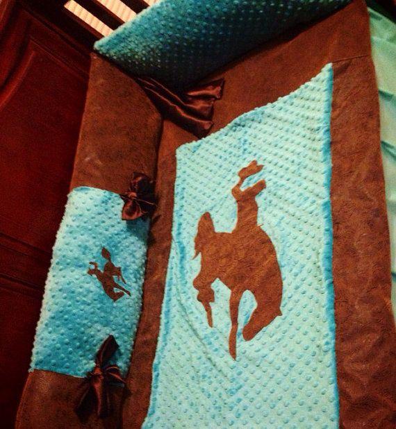 Turquoise cowboy bucking horse crib set by ashtensmeenk on Etsy, $185.00