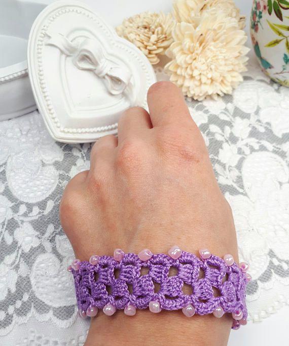 Purple beaded bracelet crochet bracelet purple fiber art