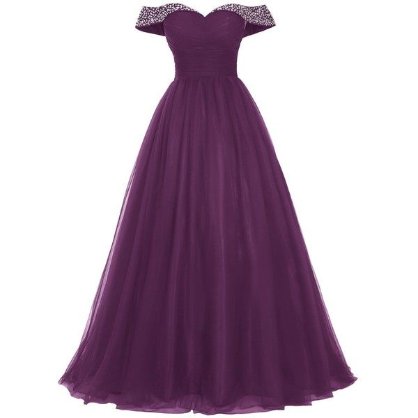 Bridesmay Long Tulle Prom Dress Beaded Off Shoulder Evening Gown... ($55) ❤ liked on Polyvore featuring dresses, long dresses, purple dresses, long prom dresses, prom dresses and beaded prom dresses