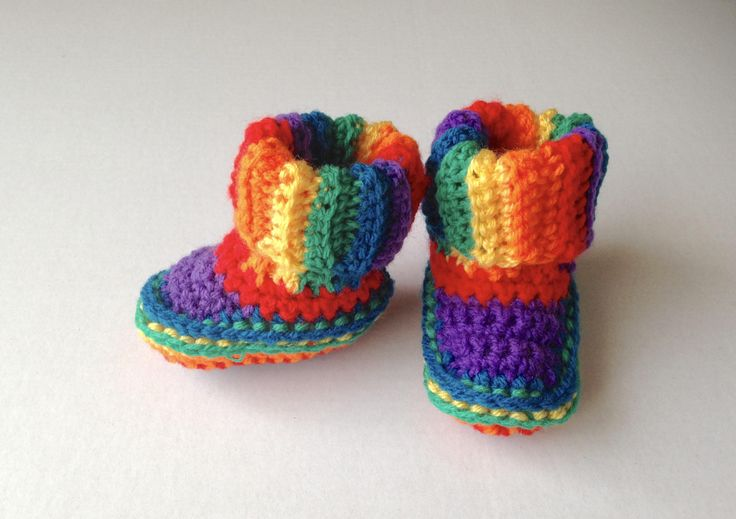 Crochet rainbow baby boots, baby socks, multi-colour stripe booties, 0-3 months, baby shower, cosplay, fancy dress, unique gift, ready now by MummysLittleGemUK on Etsy