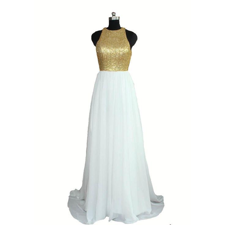 Реального изображения длинные шифон золотыми блестками невесты платья о спинки свадебные ну вечеринку платья белые платья