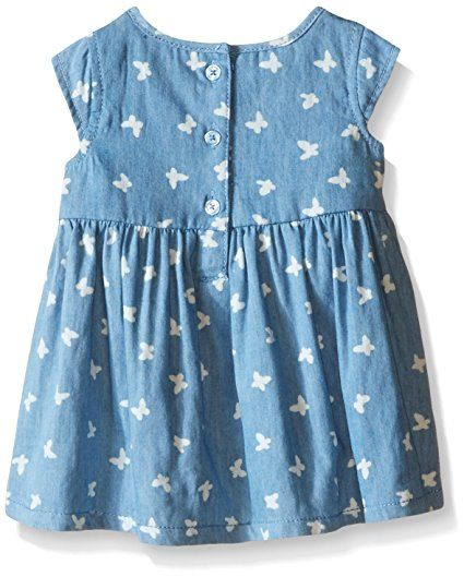 Amazon.com: Calvin Klein Baby Girls' Butterfly Print Chambray Dress and Panty, Blue, 12 Months: Clothing