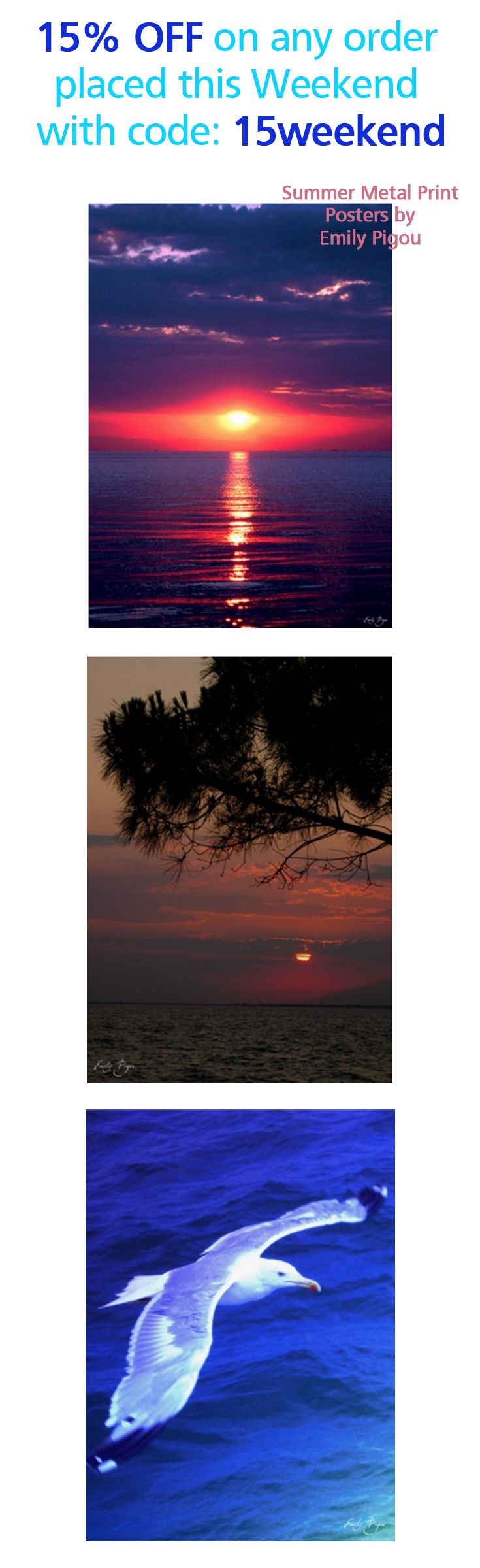15% OFF on any order placed this Weekend with code: 15weekend. . Summer  Landscape Photography Posters  Printed on Metal  by Emily Pigou. #seaposter #summer #discount #save #sales #weekendsales #displate #summerphotography  #summerhouse #homedecor #summerposters #seagull #calmness #emilypigou #sunset #travel #photography #Greece #traveltogreece #seascape #landscape