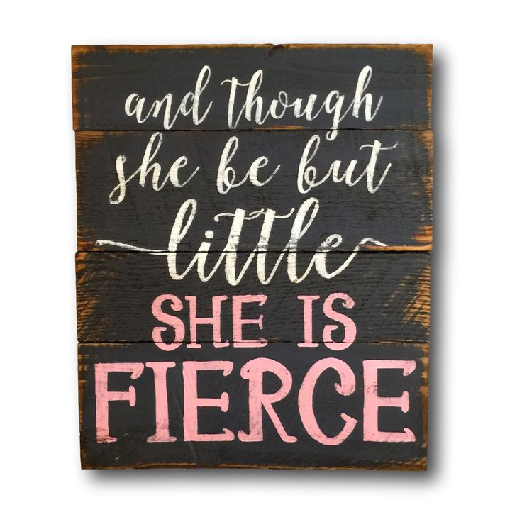And Though She Be But Little, She Is Fierce Sign / Nursery Wall Art by PalletsandPaint on Etsy https://www.etsy.com/listing/254134181/and-though-she-be-but-little-she-is