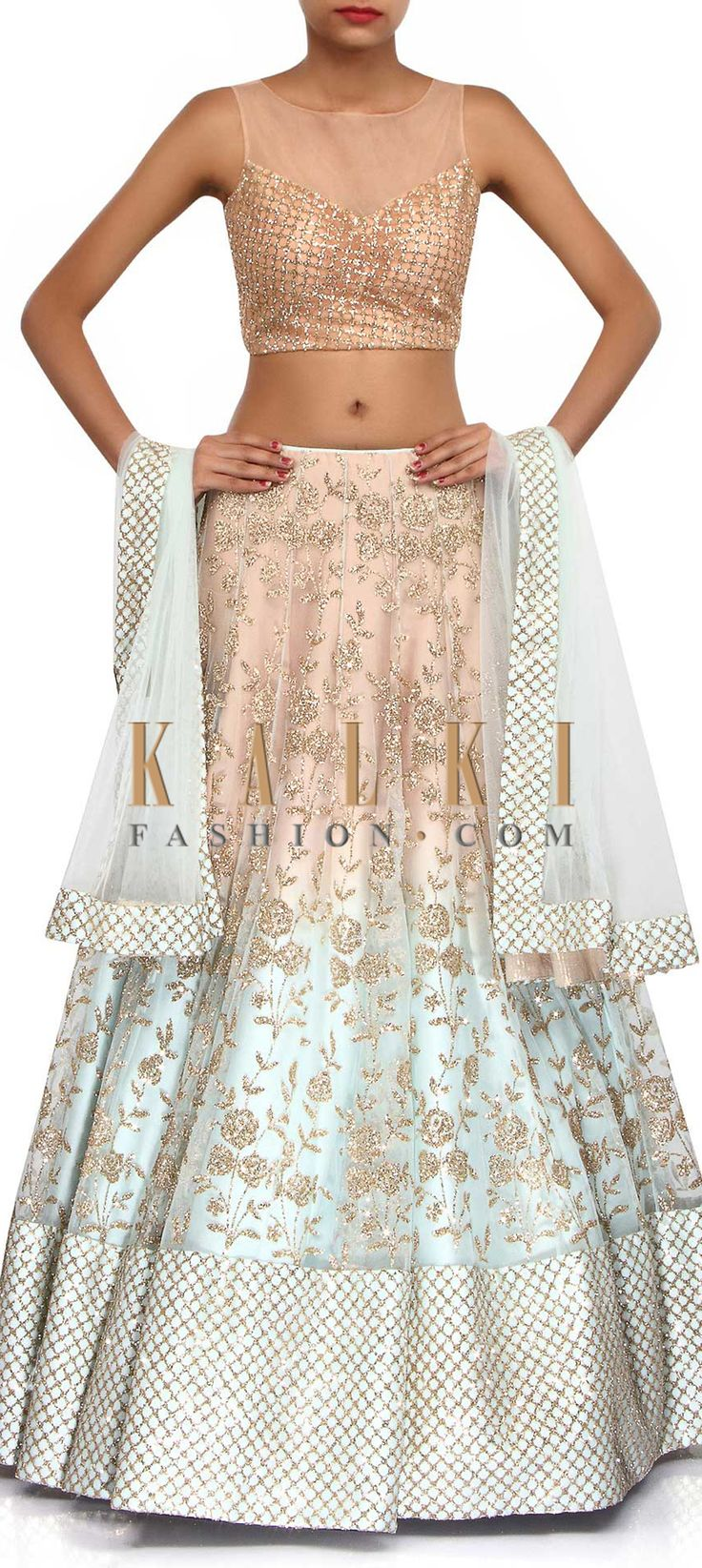 Buy Online from the link below. We ship worldwide (Free Shipping over US$100). Product SKU - 306826.Product Link - http://www.kalkifashion.com/lehenga-featuring-in-pink-and-blue-embellished-in-sequin-only-on-kalki.html