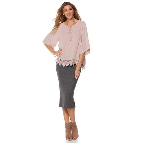 Daisy Fuentes Lace Trimmed Blouse - Ivory/Off White