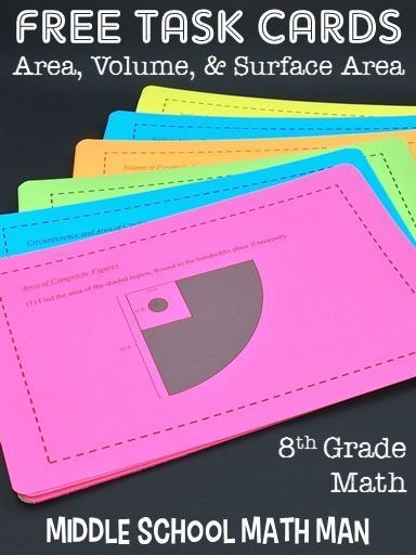 This FREE unit of 8th grade math enrichment task cards includes challenging problems related to area, volume, and surface area. Topics include circumference and area of circles, area of composite figures, volume of prisms and cylinders, volume of pyramids/cones/spheres, surface area of prisms and cylinders, and surface area of pyramids and cones! These problems are great for early finishers, math workshop, or as an extra challenge for your 8th grade math students!