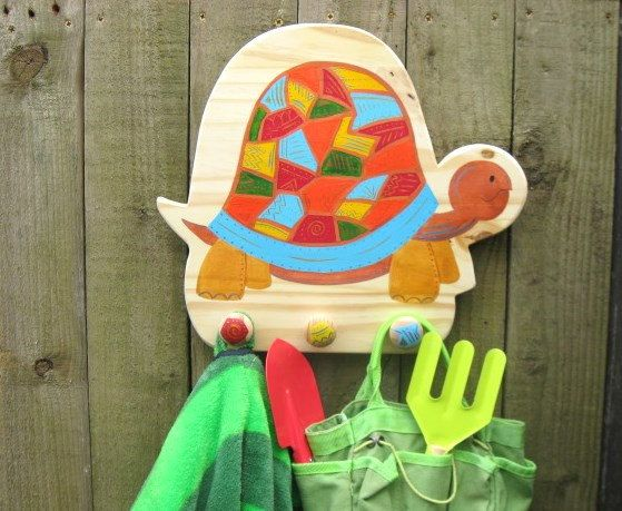 Hand Painted Wooden Tortoise Children's Coat Hook, Children's Coat Pegs, Children's Coat Rack. Free personalisation. by funkyforesthome on Etsy https://www.etsy.com/listing/188255784/hand-painted-wooden-tortoise-childrens
