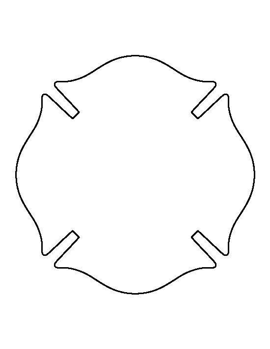 Fireman badge pattern. Use the printable outline for crafts, creating stencils, scrapbooking, and more. Free PDF template to download and print at http://patternuniverse.com/download/fireman-badge-pattern/