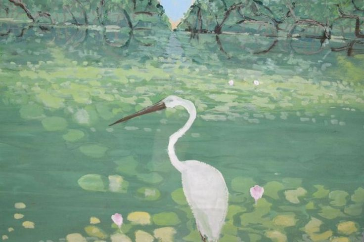 Clifton Pugh ~ Egret in Lake, 1985