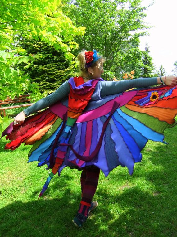 """You've got to love it for it's description alone: """"FaIryTea Reconstructed Recycled Upcycled gypsy festival hippie elf fairy pixie coat hoodie Sweater 'Moonfruit' sleeveless Rainbow Pixie tattered UK 12 US 10"""""""