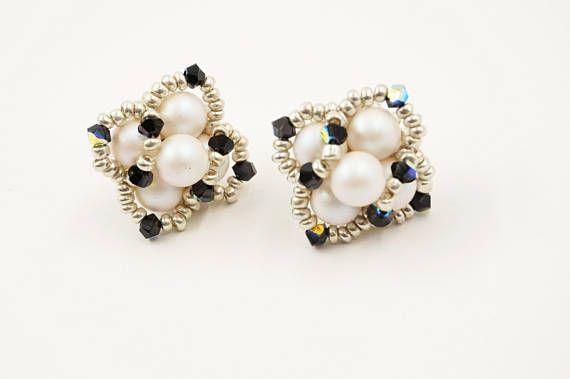 Swarovski earrings, square earrings, stud beaded earrings,  beadwoven earrings, white earrings, beadwork, Swarovski crystal,   gift idea,