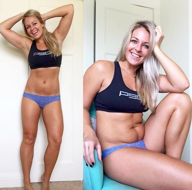 One fitness blogger has set out to let us know that nobody's perfect — and that even her stomach has rolls when she sits down. In a recent Facebook post, Ashlie Molstad shared side-by-side photos: one of herself looking svelte as usual and another of her seated, with belly rolls.
