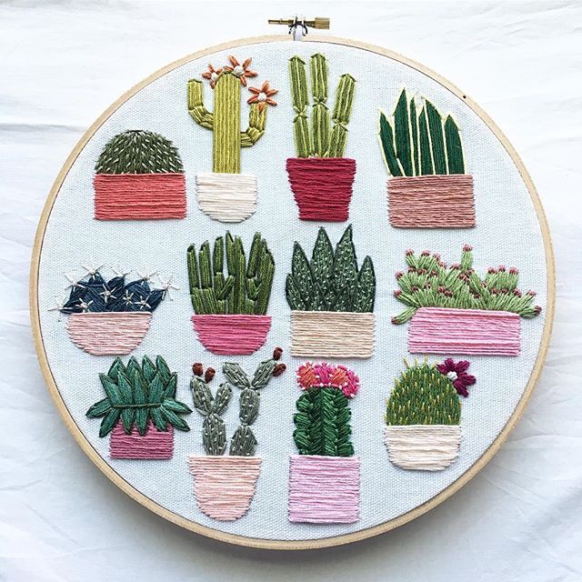 cactii embroidery