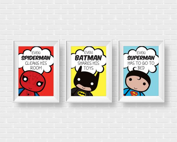 Superhero kids room art prints. 3 set wall by GraphicCorner