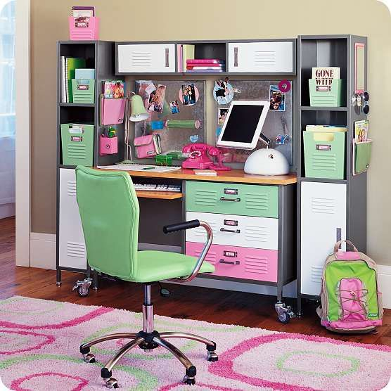 Pottery Barn Teen: love the colors and all the cubbies! Cute for a teen girls room I would have rocked it!