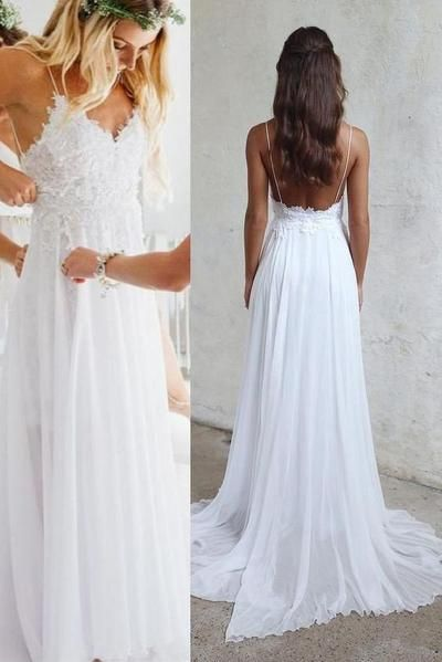 Sexy Backless Unique Casual Cheap Beach Wedding Dresses, WD311#2020weddingdress #weding #bridaldress #laceweddingdress #fashion #Ballgown #Country #boho #Princess #modest