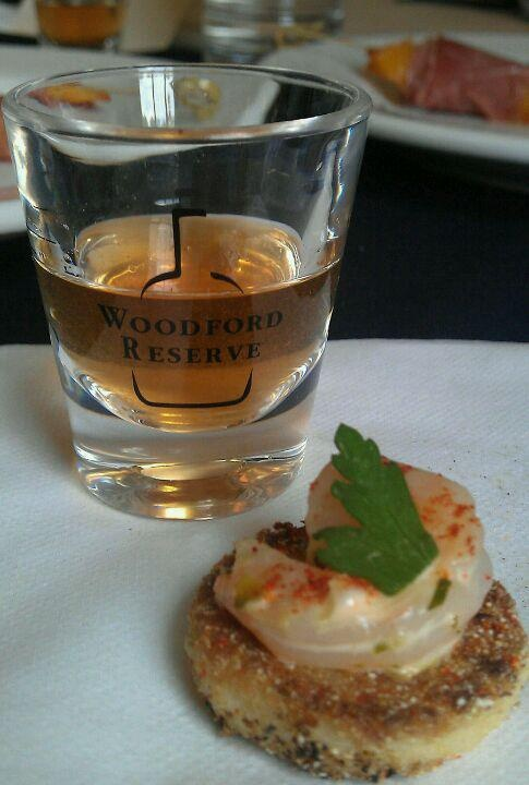Woodford Reserve Whiskey with a shrimp appetizer