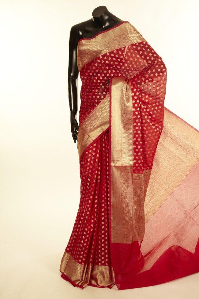 Banarsi- cotton pure dark red saree with blouse
