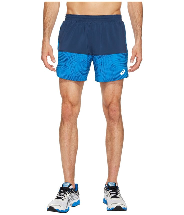 "ASICS Men's 5"" Everyday Shorts, Insignia Blue/Directoire Blue Atmosphere, Large. Lightweight, 4-way stretch woven Dobby fabric with anti-static and wicking finish. Elastic waistband with drawcord and zippered pocket on side seam. Moisture management melange brief with anti-odor properties. Reflective dots on side panels. Inseam length: 5 inch."