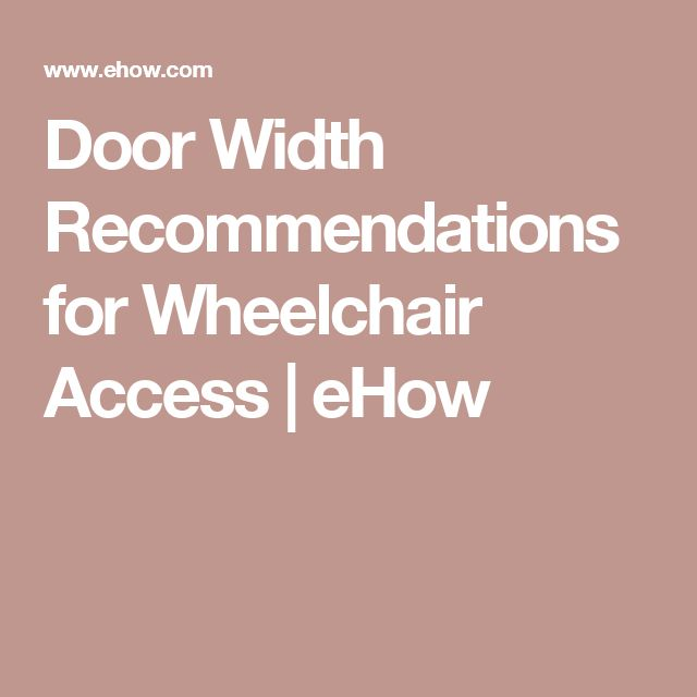 Door Width Recommendations for Wheelchair Access | eHow